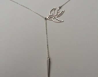 Handmade lariat y shaped swallow necklace