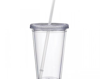 SHIPS in ONE day! Set of 2 Tumblers Clear Acrylic tumblers with lid and Straw, DIY tumblers, high quality tumblers, Tumbler with straw, 16oz