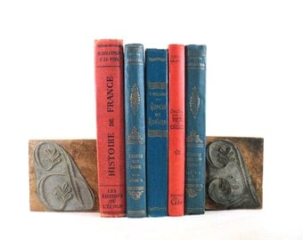 5 Blue and Red Vintage French Books, Shabby Instant Library Decor