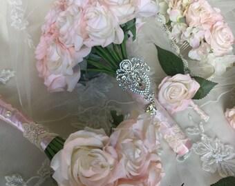 Blush Bridal Bouquet - Blush Rose Bouquet - Pink Bouquet - Blush Bouquet - Pink Bridal Bouquet - Blush Real Touch Bouquet