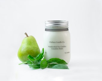 12oz Basil Pear Scented Soy Candle