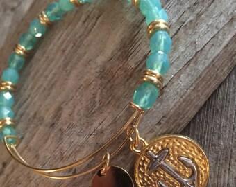 Beaded bracelet adjustable bangle, crystal bangle, nautical bracelet, stackable bracelet, beaded bracelets, anchor charm, coastal