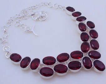 68 gram stunning  FACETED GARNET .925 sterling silver handmade  necklace  free shipping