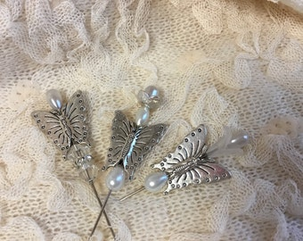 "Metal  butterfly,pearls,  clear crystal beads. decorative stick pins. 2"", 3 pack"