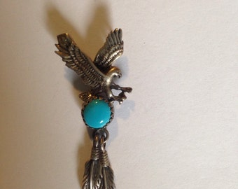 Silver Eagle and Turquoise pendant