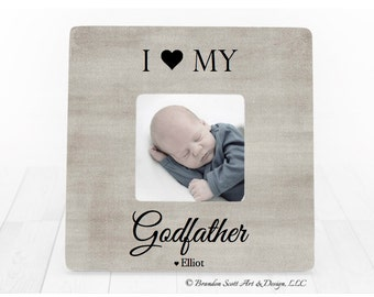 Fathers Day Gift for Godfather Picture Frame, I Love My Godfather Frame Personalized Baptism Picture Frame Baptism Christening Picture Frame