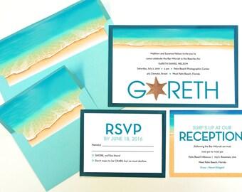 BEACH Mitzvah Invitation Set