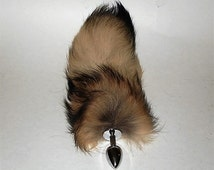 "Tail Plug, 9""- 10"" TANUKI Tail, (FinnRaccoon), MATURE,Detachable or Perrmanently Attached, Cosplay, Fetish Wear, Neko, bdsm, Anal Plug"