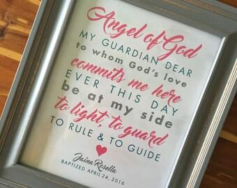 Angel of God Print Custom Gift for Baptism