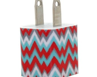 Blue and Coral Chevron Cell Phone Charger Compatible with iPhone, Samsung and Android devices