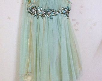 Pale aqua green tulle anarkali gown with hand worked beaded bodice