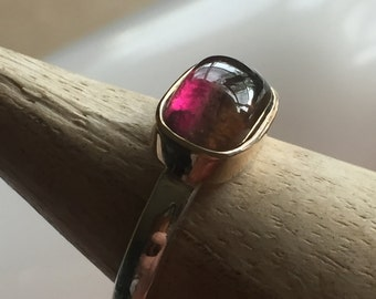 Watermelon Tourmaline Cabochon, 14K Gold Setting, Sterling Silver Ladies Ring. Size US-6, UK-L 1/2.