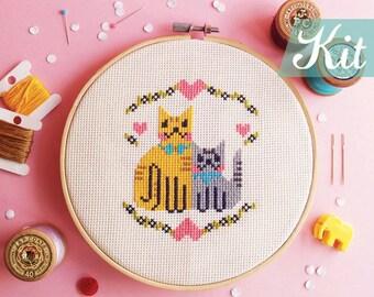 Cross Stitch KITs,Cats cross stitch sample,Modern cross stitch,Romantic cross stitch,Beginner kits,Embroidery kits,DIY kits- Kittens in LOVE