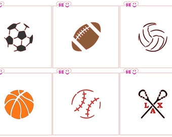 Sports Ball Stencils Available: Basketball Baseball Football Lacrosse Soccer Volleyball