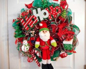 Christmas Deco Mesh Wreaths, HoHoHo Santa Clause Deco Mesh Wreath, Mesh Wreath, Holiday Decor, Whimsical Deco Mesh Wreaths, Door Decor