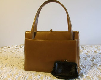 Brown Leather I Magnin Purse, Genuine Leather I Magnin and Co Rendl Original Purse, Double Handle Purse, Gift for Her