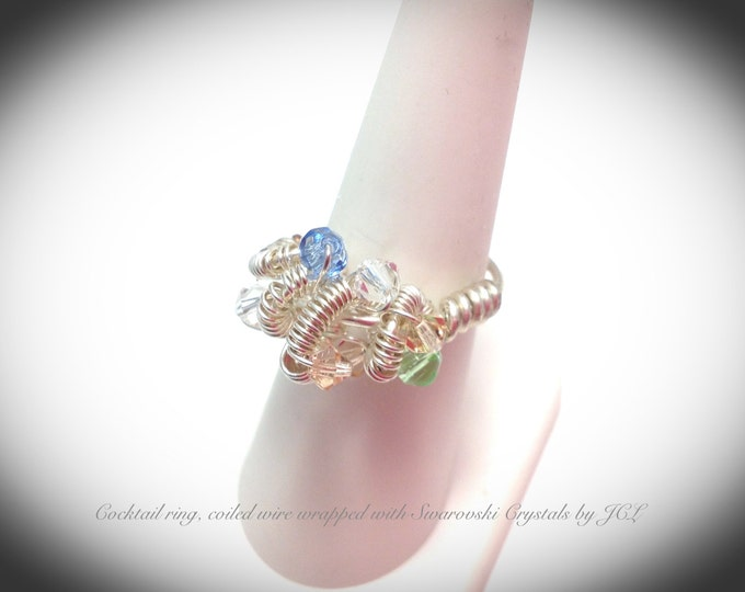 Silver filled wire wrapped cocktail ring with swarovski crystals