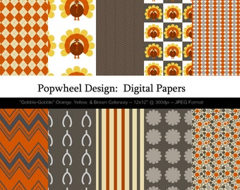 Thanksgiving -- Gobble-Gobble -- Digital Paper Pack -- Printable -- Personal and Commercial Use