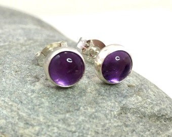 Amethyst Stud Earrings .. 6MM round .. Silver Studs .. Amethyst earrings