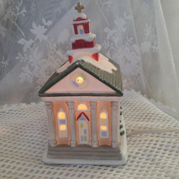 Painting Church In Snow Religious Christmas Ceramic: HOMCO Christmas Village Church 8914 Illuminated Ceramic