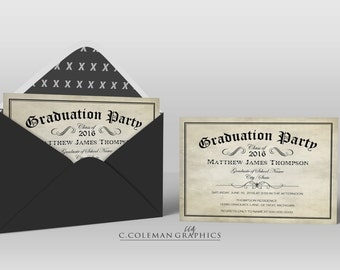 Graduation Party Invitation #16 -- Custom Invitations -- Digital File OR Free Shipping Prints