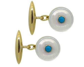 Turquoise & Mother of Pearl Cuff Links