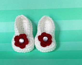 White and Red Crochet Baby Shoes