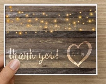 Bridal Shower Thank You Card.  Rustic thank you card.  Personalized.  Multiple pack sizes available!