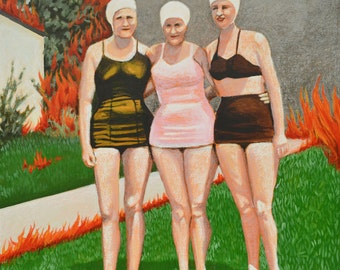 "Swimsuit Edition 30x30"" original painting with swimmers and flaming yard"