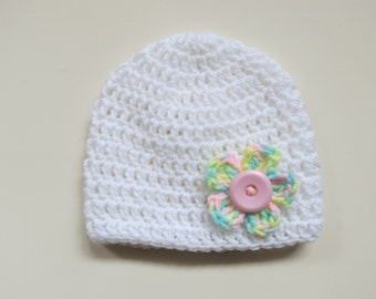 Handmade Crochet Baby Girl Hat in size 0-3 months in White with Multicoloured Flower & Pink Button, Photo Prop, Baby Girl accessory,