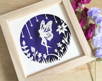 Fairy papercut, fairy art, fairy picture, papercutting,home decor, papercut art, framed papercut, wall art, original papercut, fantasy art.