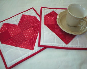 Quilted Valentine Mug Rugs - Snack Mats - Set of 2