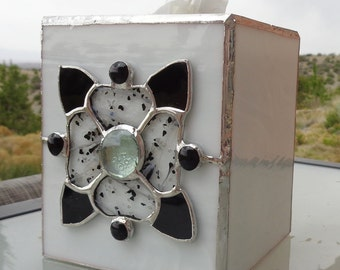 Stained Glass Tissue Box with Black and White Flower