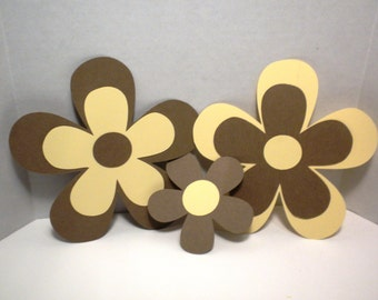 6 Die Cut Flowers-Die Cuts, Paper Flowers, Scrapbook Paper Flowers, Die Cut Flowers, Paper Flower Die Cts, Scrapbooking Flowers