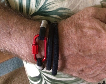 Multi purpose black leather Leather bracelet  band for him or her handmade, or ankle bracelet or neck band