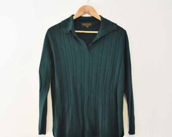 Dark Green Long-Sleeved Top