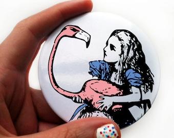 Pocket Mirror Alice In Wonderland Flamingo.