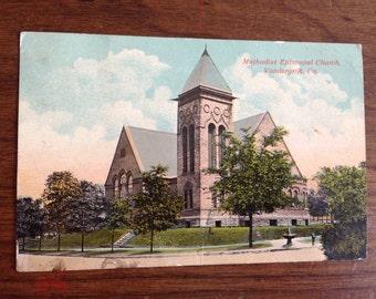 Vintage 1917 Church Postcard, 1 cent George Washington Stamp, Pennsylvania Methodist Episcopal