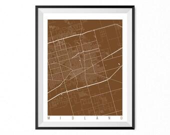 Midland Map Art Print / Midland City Poster / Midland Wall Art / Texas/ Gift / Texas home decor