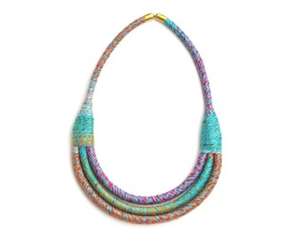 Textile Necklace, Fabric Bib Necklace, Colorful Multi Layer Rope Necklace, Textile Rope Jewelry, Fiber Necklace, Unique Modern Necklace