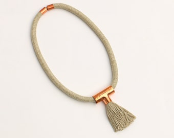 Contemporary Statement Tassel Necklace, Modern Rope Necklace, Big Textile Tassel Necklace, Mixed Media Jewelry, Tassel Jewelry