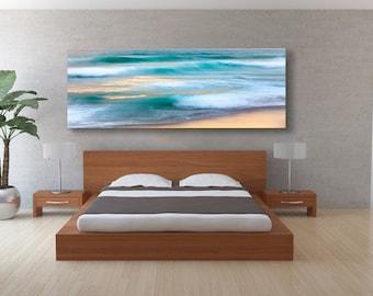 California Ocean Waves Photo, Seascape Panorama Print, Large Nautical Big Sur Abstract Canvas Decor, Carmel Beach Waves Art, Teal Golden