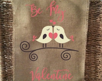 Be My Valentine Love Birds Burlap Garden Flag - With or Without Initial