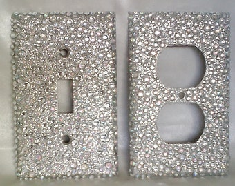 bling silver glitter 2 plug outlet cover and single toggle light switch wall plate with clear