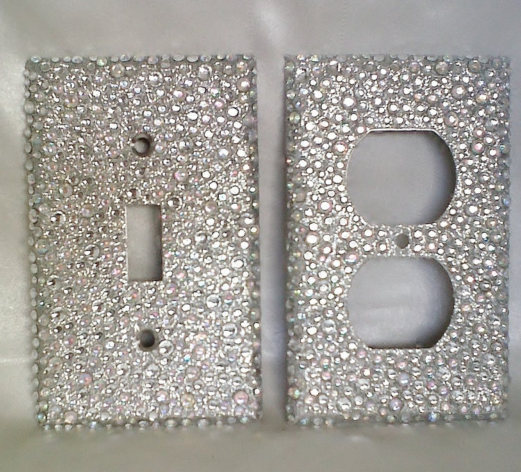 Bling Silver Glitter 2 Plug Outlet Cover And By