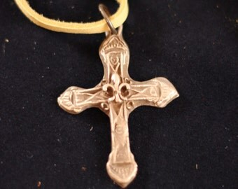 Bronze Pendant Necklace - Ornate Cross Pendant on Butter Soft Deerskin Leather