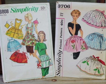Vintage Half Apron Patterns, 1960s Half Apron, Apron Pattern Sets, Simplicity Pattern 6808 and 3706 Fits One Size, Hostess Gift Aprons #8-22