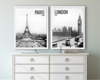 Art Prints Paris and London Photo Print Black and White Wall Art Living Room Decor Modern Decor Eiffel Tower Old Historic Photos Photography