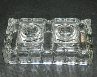 double glass INKWELL. Inkwell glass desk accessory from France