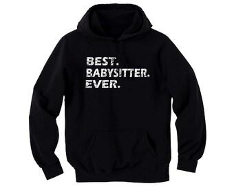 Best babysitter ever distressed look customized man/women/junior black pullover hoodie
